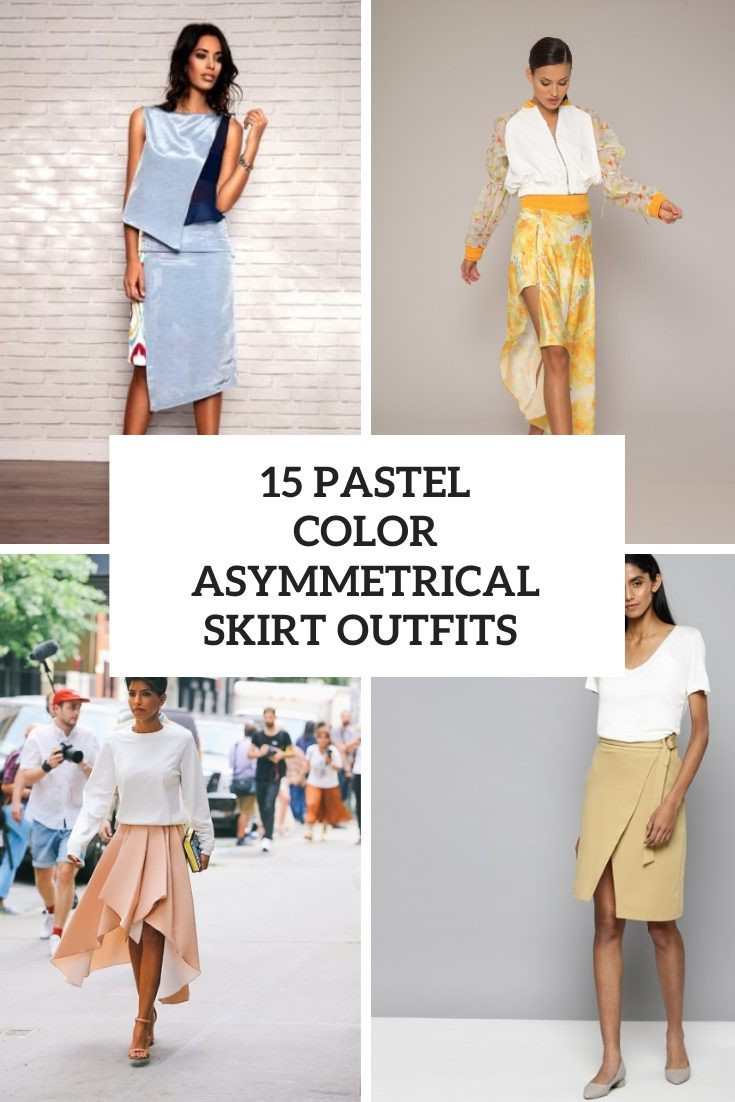 Outfits With Pastel Color Asymmetrical Skirts