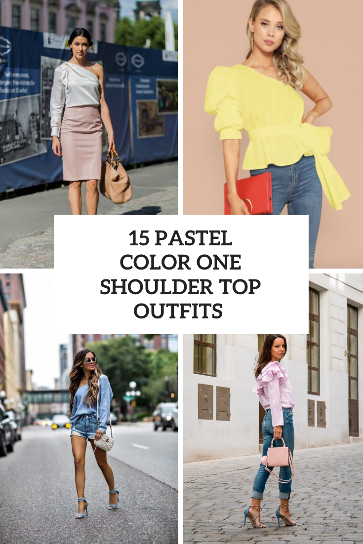 15 Outfits With Pastel Color One Shoulder Tops