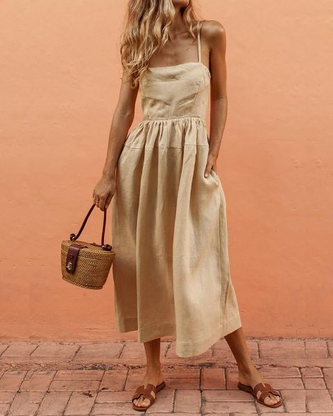 With bag and brown flat sandals