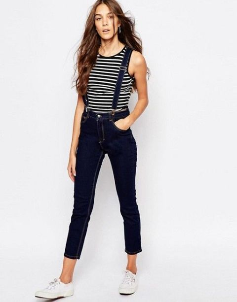 With black and white striped sleeveless top and white lace up flat shoes