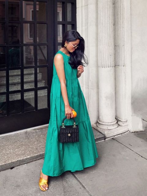 With black bag and yellow sandals