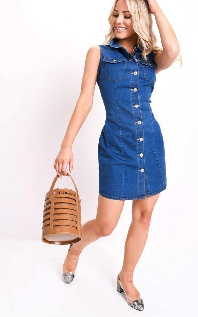 With brown basket bag and printed low heeled shoes