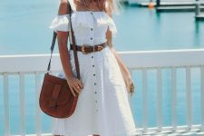 With brown belt, brown suede bag and brown sandals