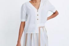 With color block midi skirt and brown mini bag
