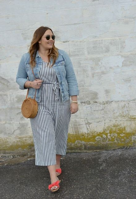 With denim jacket, straw rounded bag and red flat sandals