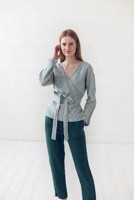 With emerald crop pants