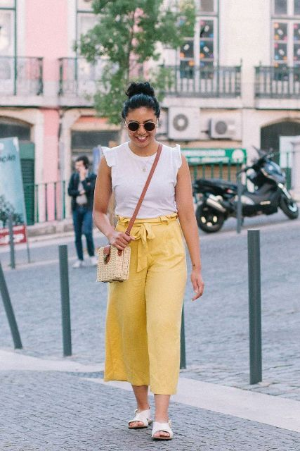 With ruffled top, straw bag and white sandals