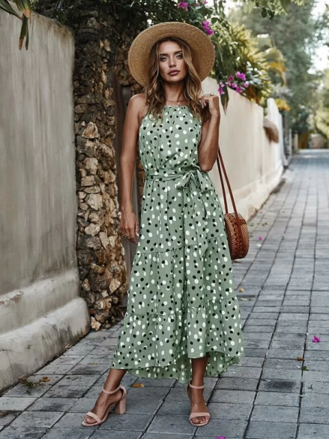 With straw hat, straw rounded bag and beige ankle strap sandals
