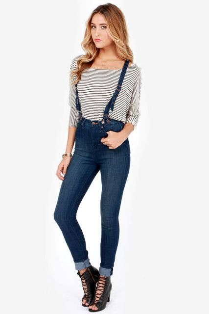 With striped loose shirt and black lace up high heels
