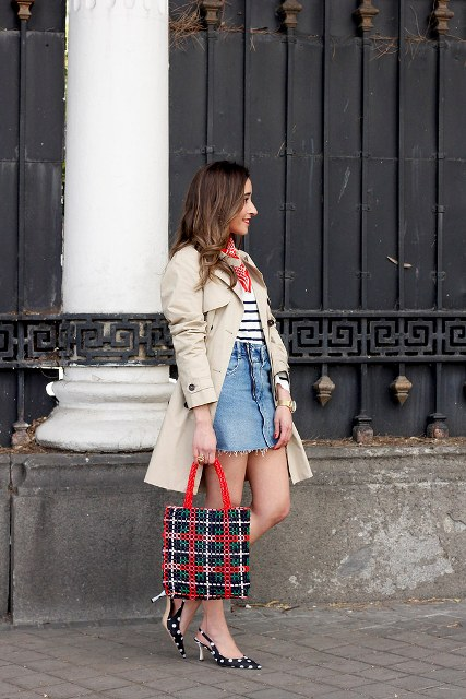 With striped shirt, denim mini skirt, beige coat and checked tote bag