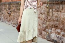 With white and red striped shirt, marsala clutch and beige ankle strap high heels