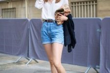 With white blouse, navy blue jacket and leopard printed flat shoes