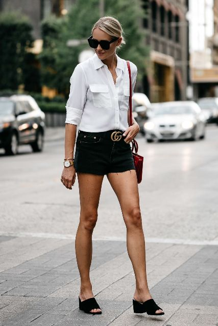 With white button down shirt, marsala bag and black low heeled mules