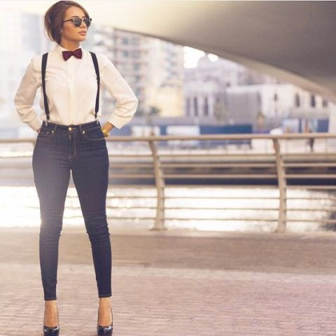 With white button down shirt, platform shoes and marsala bow tie