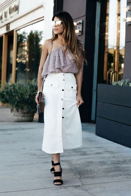With white button front midi skirt, chain strap bag and black sandals