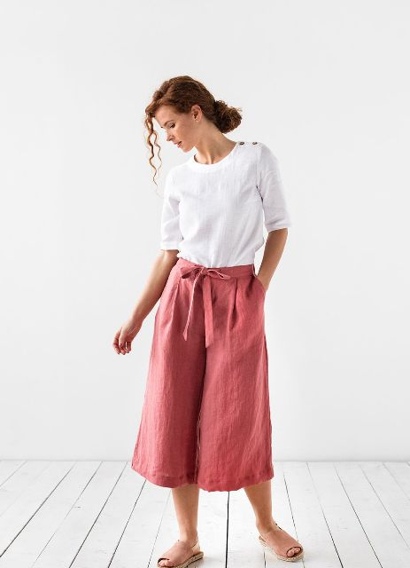 With white shirt and pale pink suede flat shoes