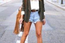 With white shirt, olive green cardigan, fringe bag and ankle boots