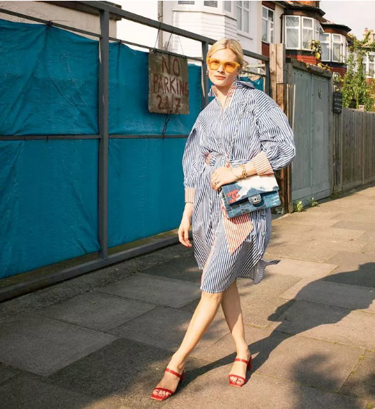 a blue striped shirtdress, red heels, a pretty bag and orange sunglasses are proper for work and an after-work date