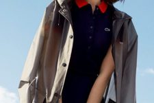 a navy and red polo mini dress, a red lip and a faux leather coat for a rainy summer day