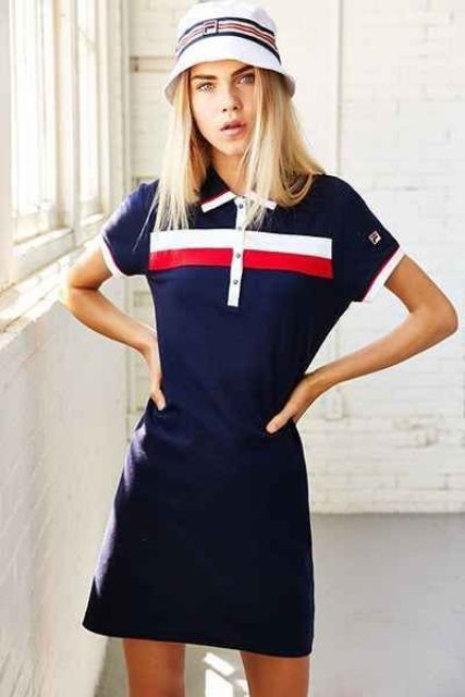a navy, white and red striped polo mini dress and a matching bucket hat for a bold sporty look this summer