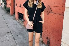 a summer work look with a black romper, grey shoes, a dusty pink bag and a bandana on the neck