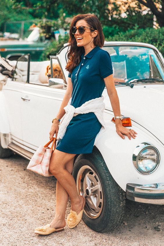a teal polo mini dress, a white jumper, yellow slippers and a plaid mini bag for a retro-inspired look
