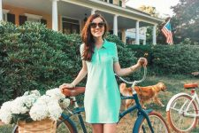 an aqua-colored mini polo dress, colorful slippers is a simple summer outfit that looks bright and cool