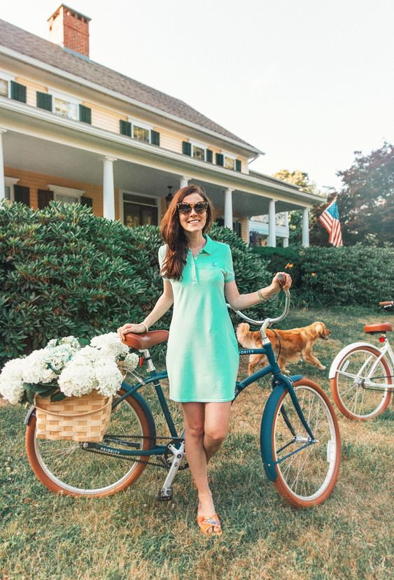an aqua colored mini polo dress, colorful slippers is a simple summer outfit that looks bright and cool