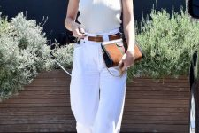 an ivory sleeveless bodysuit, white barrel jeans, nude heels, a brown belt and a brown bag