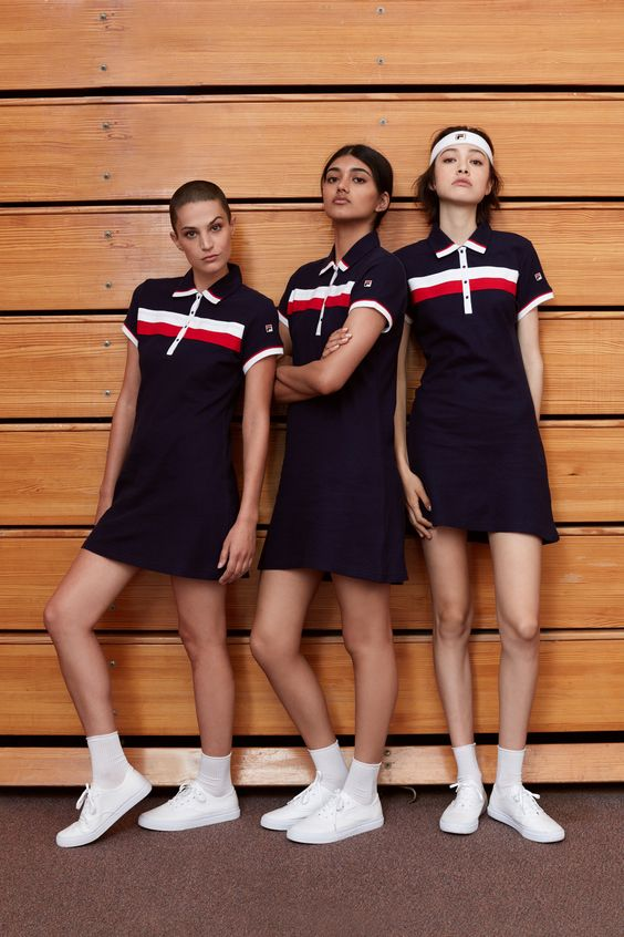 sporty looks with navy, white and red striped polo dresses, white sneakers and white socks for every day