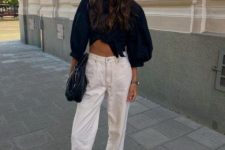 06 a black tied up shirt, white jeans, a black clutch, black kitten heel flipflops for summer