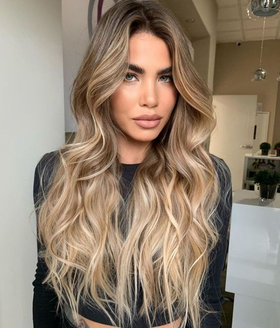 brunette hair with lovely and shiny warm blonde highlights that looked very sunkissed and stylish