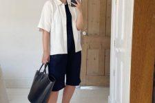 07 a black top, navy Bermudas, a white linen shirt, black heeled flipflops and a black tote