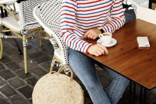 09 a bright striped long sleeve top, skinny jeans, black mules and a round straw bag for a cold summer day