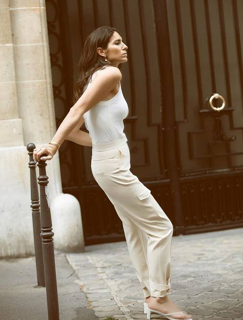 a simple white top, creamy cargo pants, white heeled flipflops for a hot summer day