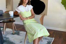 12 a white linen shirt and a nepn linen dress plus white heeled flipflops for summer