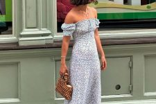 13 an off the shoulder blue printed midi dress, white heeled flipflops, a wooden bead bag for summer