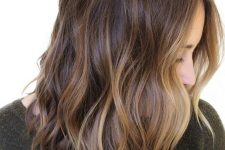 13 gorgeous rich brown wavy hair with chic sunkissed balayage and waves is a lovely idea to embrace the summer with your look