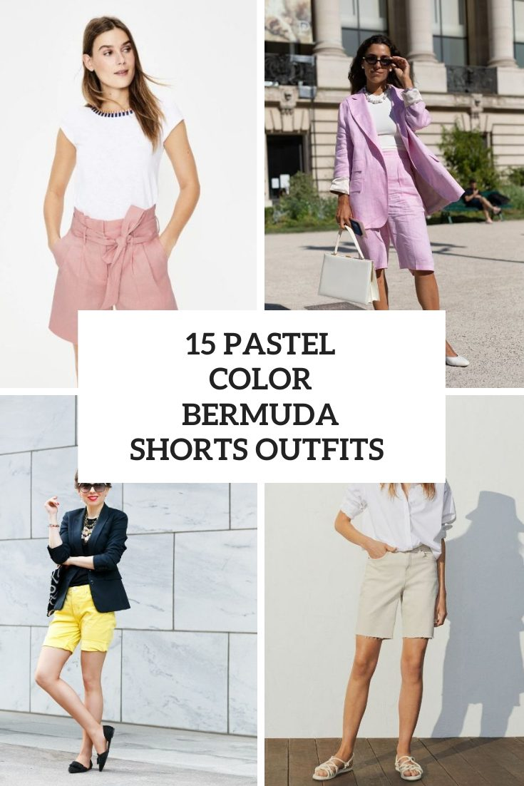 15 Outfits With Pastel Color Bermuda Shorts
