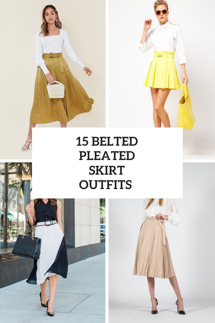 15 Wonderful Looks With Belted Pleated Skirts