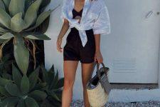 15 a black bra, black shorts, a white shirt, black flipflops, a straw bag for summer
