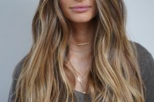 15 light brunette hair with long honey blonde highlights and waves is a cool idea to wear in summer