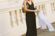 16 a black slip midi dress, white denim jacket and yellow and green platform flipflops for summer