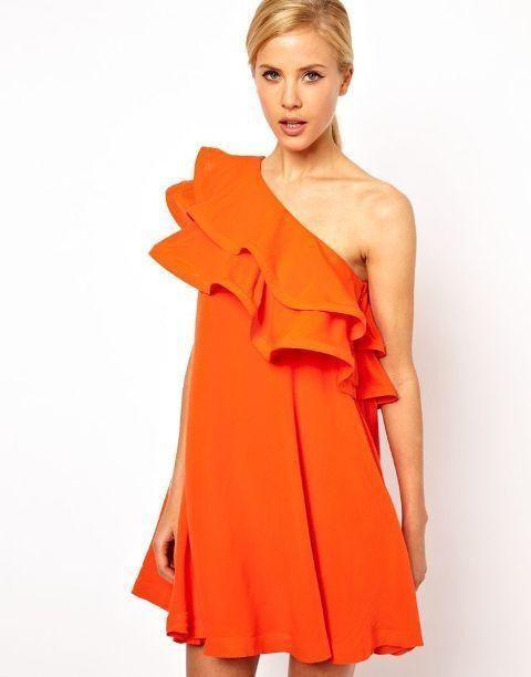 Orange tiered mini dress