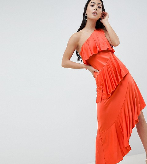 Orange tiered one shoulder dress