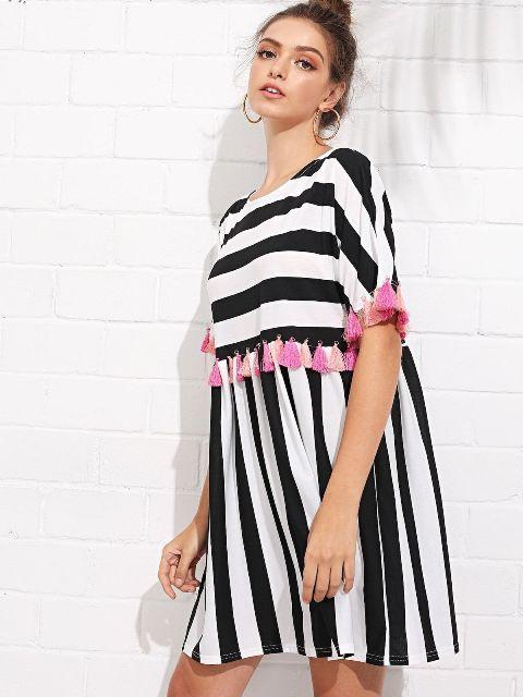 Striped mini dress with tassels