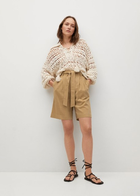 With beige crochet loose shirt and black lace up flat sandals