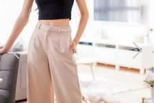With beige culottes
