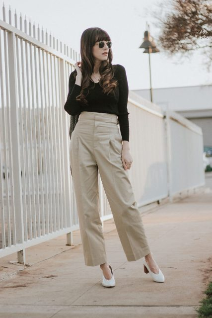With black long sleeved shirt and white leather shoes
