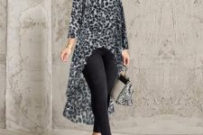 With black skinny trousers, snake printed bag and printed pumps